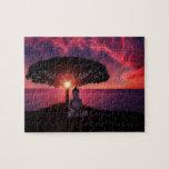 Buddha in the Red Evening Sky Jigsaw Puzzle