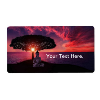 Buddha in the Red Evening Sky Shipping Label