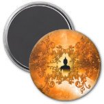 Buddha in the sunset 3 inch round magnet