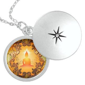 Buddha in the sunset round locket necklace