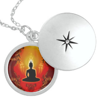 Buddha in the sunset with glowing mystical light round locket necklace
