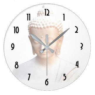 Buddha In White | Serene Meditative And Calm Large Clock