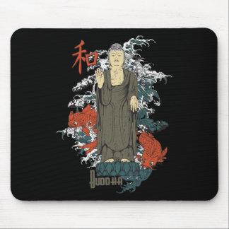 Buddha, Kanji and Koi Fish Mouse Pad