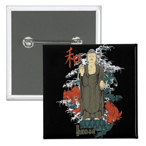 Buddha, Kanji and Koi Fish Pinback Button