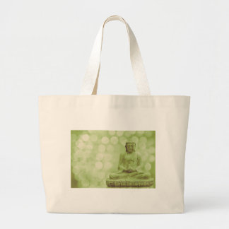 buddha light (light green) large tote bag