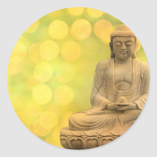 buddha light (yellow) classic round sticker