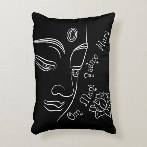 Buddha Lotus Om Mani Padme Hum White Accent Pillow