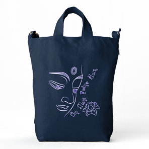 Buddha Lotus Om Mani Padme Hum White Duck Bag