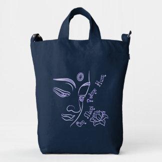Buddha Lotus Om Mani Padme Hum White Duck Bag