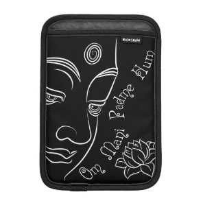 Buddha Lotus Om Mani Padme Hum White iPad Mini Sleeve