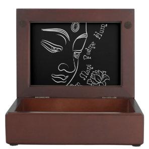 Buddha Lotus Om Mani Padme Hum White Keepsake Box