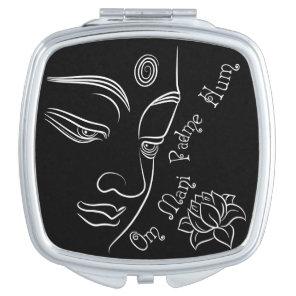 Buddha Lotus Om Mani Padme Hum White Makeup Mirror
