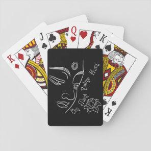 Buddha Lotus Om Mani Padme Hum White Playing Cards