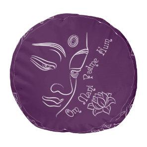 Buddha Lotus Om Mani Padme Hum White Pouf