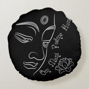 Buddha Lotus Om Mani Padme Hum White Round Pillow