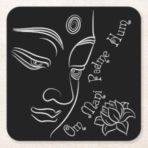 Buddha Lotus Om Mani Padme Hum White Square Paper Coaster
