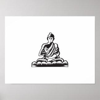 Buddha Lotus Pose Woodcut Poster