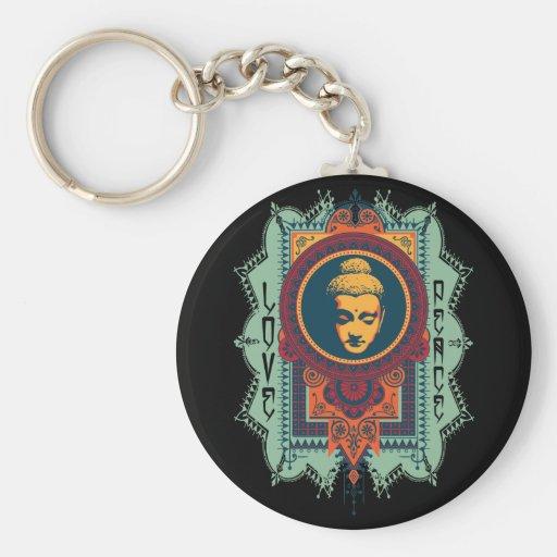 Buddha Love and Peace Basic Round Button Keychain