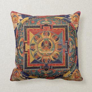 Buddha Mandala Antique Tibetan Thanka Throw Pillow