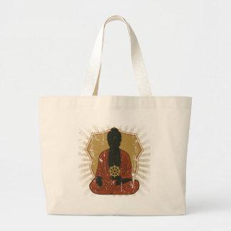 Buddha Meditating Dharma Wheel Tote Bags