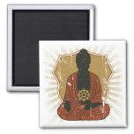 Buddha Meditating Dharma Wheel Refrigerator Magnets