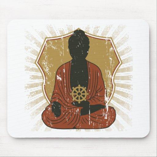 Buddha Meditating Dharma Wheel Mousepad