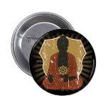 Buddha Meditating Dharma Wheel Pinback Buttons