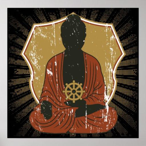 Buddha Meditating Dharma Wheel Poster