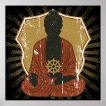 Buddha Meditating Dharma Wheel Print