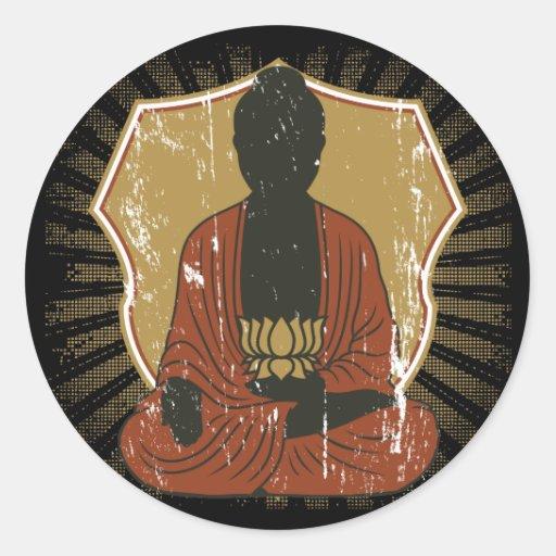 Buddha Meditating Lotus Flower Classic Round Sticker