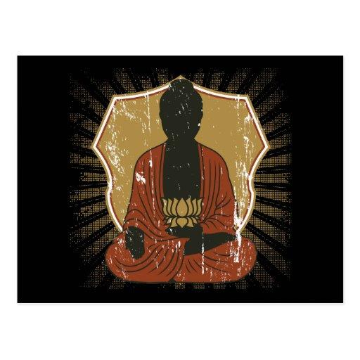 Buddha Meditating Lotus Flower Postcard