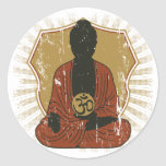 Buddha Meditating Om Symbol Round Sticker