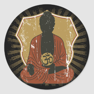 Buddha Meditating Om Symbol Classic Round Sticker
