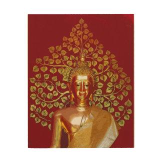 Buddha & Money Tree Wood Print