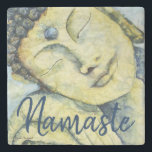 "Buddha Namaste Watercolor Art Stone Coaster<br><div class=""desc"">Beautiful unique design features &quot;Stillness Awakens&quot;&#169; original watercolor on textured masa paper,  by Kari Anapol,  BloomingLotusStudio.com</div>"