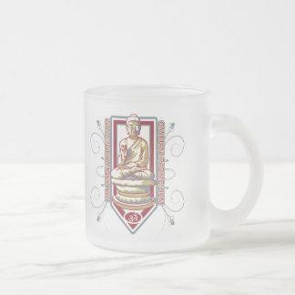 Buddha Om Mani Padma Hum 10 Oz Frosted Glass Coffee Mug