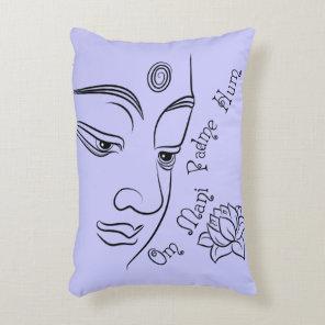 Buddha Om Mani Padme Hum Black Accent Pillow