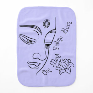 Buddha Om Mani Padme Hum Black Burp Cloth