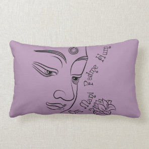 Buddha Om Mani Padme Hum Black Lumbar Pillow