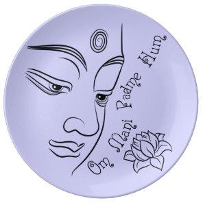 Buddha Om Mani Padme Hum Black Porcelain Plate