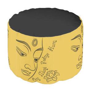 Buddha Om Mani Padme Hum Black Pouf