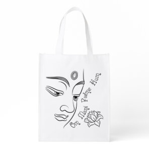 Buddha Om Mani Padme Hum Black Reusable Grocery Bag