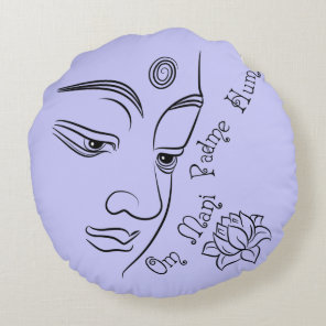 Buddha Om Mani Padme Hum Black Round Pillow