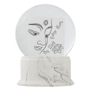 Buddha Om Mani Padme Hum Black Snow Globe