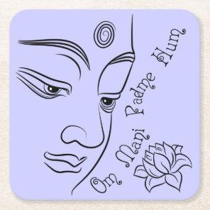 Buddha Om Mani Padme Hum Black Square Paper Coaster