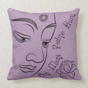 Buddha Om Mani Padme Hum Black Throw Pillow