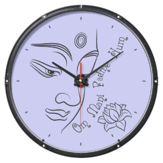 Buddha Om Mani Padme Hum purple background Aquavista Clocks