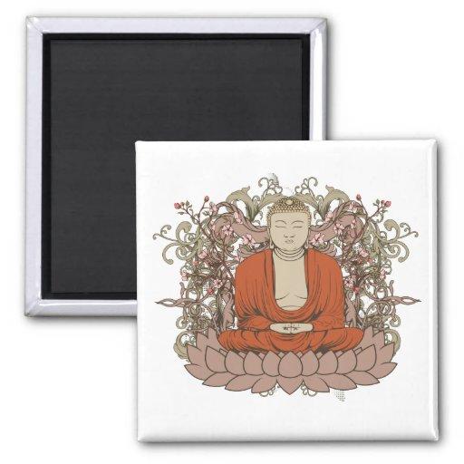 Buddha On Lotus Flower Fridge Magnet