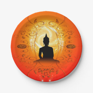Buddha on mysical background 7 inch paper plate