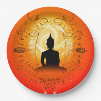 Buddha on mysical background 9 inch paper plate